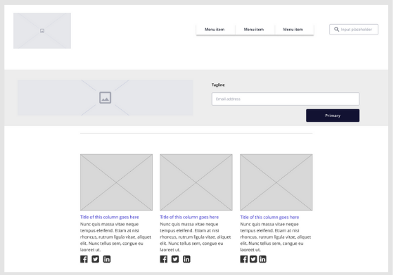 Website mockup to collect customer feedback